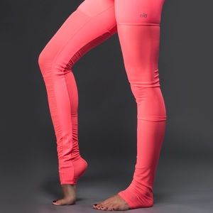 Alo Yoga Mesh Goddess Leggings in Neon Azalea